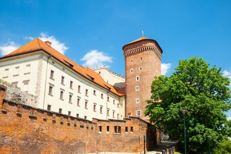 senators: Senators tower at Royal Wawel Castle as a part of most important historical complex in Krakow, Poland