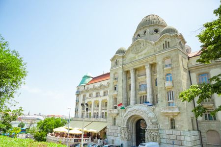 hungarian: BUDAPEST, HUNGARY - JUNE 15, 2016: Well-known Gellert hotel and entrance to thermal spa near Dunabe River in Budapest, Hungary - June 15, 2016 Editorial