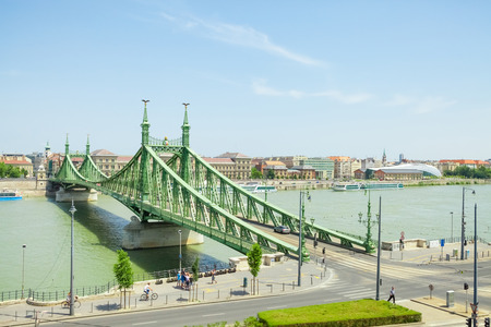 franz: BUDAPEST, HUNGARY - JUNE 15, 2016: Liberty or Freedom Bridge connecting Buda and Pest across the Dunabe River in Budapest, Hungary - June 15, 2016