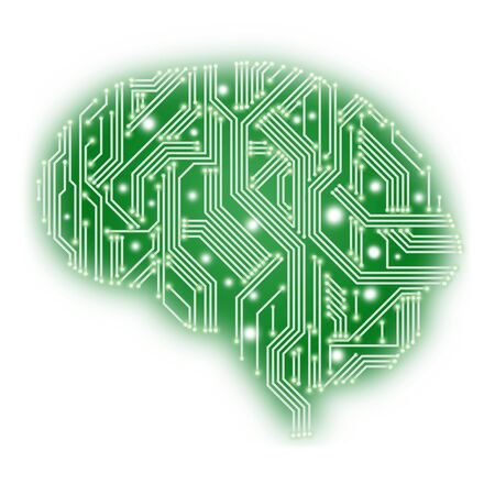 Illustration of human brain in form of circuit board of green color on white background