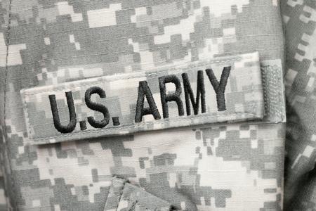 Studio shot of U.S. ARMY chest patch on solders uniform Stock Photo