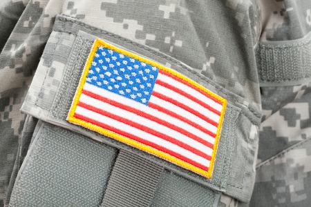 Studio shot of U.S. flag patch on American solders uniform Stock Photo