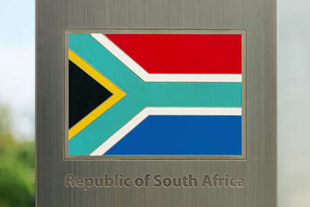 domestic policy: National flags on metal pole series - Republic of South Africa Stock Photo