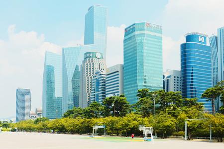 SEOUL, KOREA - AUGUST 14, 2015: Yeouido - Seouls biggest finance and investment banking area - Seoul, South Korea