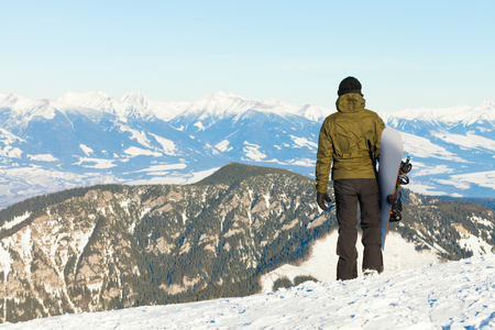 Snowboarder at the very top of Chopok mountain in Jasna, Slovakia Stock Photo