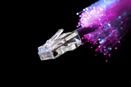 Close up studio shot of LAN and optical fiber cable Stock Photo