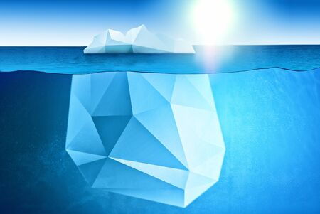 Underwater view of iceberg with beautiful polar sea waters around and sun on background