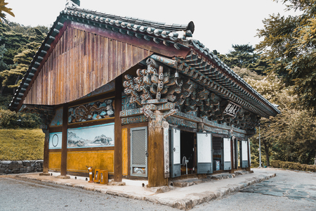 One of old buildings of buddhist t monastery at mountainous area somewhere in South Korea