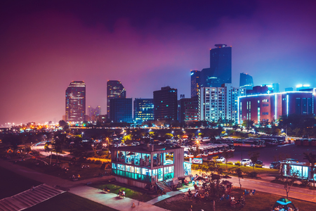 SEOUL, SOUTH KOREA - AUGUST 14, 2015: Night view of Yeouido island - famous buisness district of Seoul, South Korea