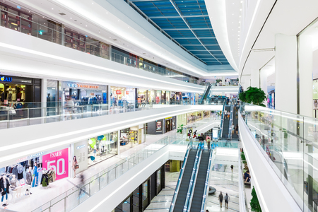 SEOUL, SOUTH KOREA - AUGUST 17, 2015: People moving here and there while doing shoping in