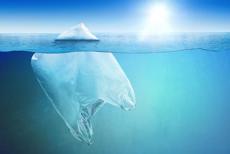 Huge vinyl bag floating in the open sea as an iceberg