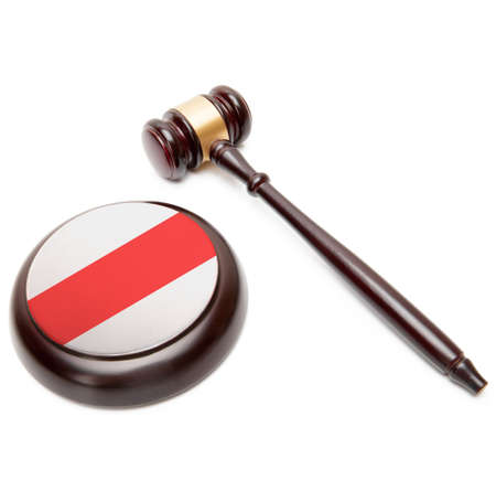 Wooden judge gavel with national flag on sound block series - Belarus Фото со стока
