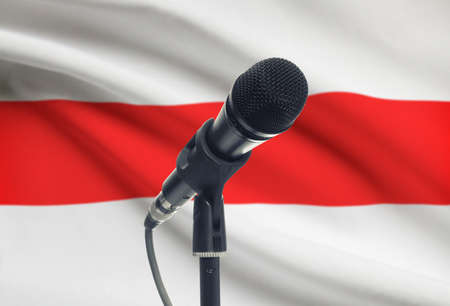 Microphone with national flag on background series - Belarus Фото со стока