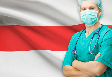 Surgeon with national flag on background - Belarus