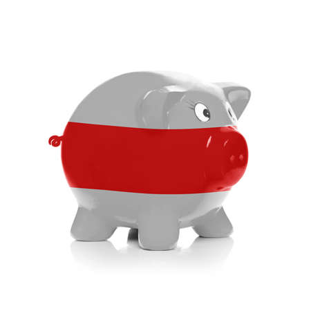 Piggy bank colored into national flag and isolated on white background - Belarus