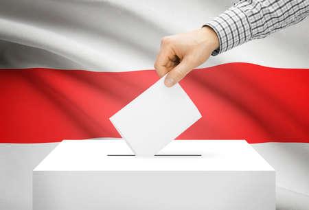 White male holding national flag. Voting concept - Belarus