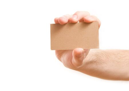 hand showing blank business card on white background Stock Photo - 3939345