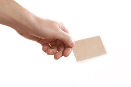 hand showing blank business card on white background Stock Photo - 3939355
