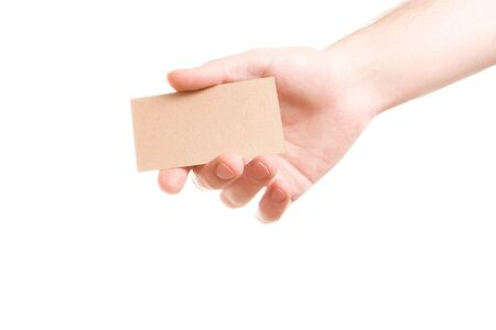 hand showing blank business card on white background Stock Photo - 3939351