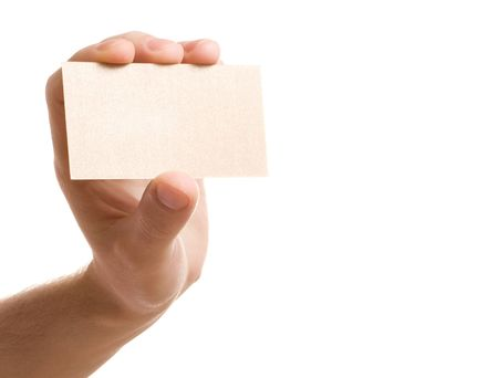 hand showing blank business card on white background Stock Photo - 3939338