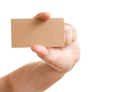 hand showing blank business card on white background photo