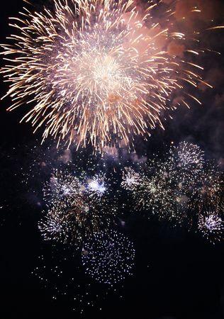 multi national: Fireworks exploading in the skies