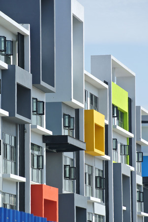 faade: Building fa?ade design with pattern and colours Stock Photo