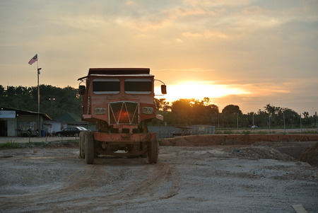 Old lorry at the construction site photo