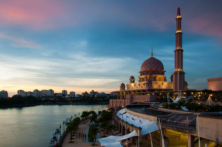 hardscape: Putra Mosque in Putrajaya during sunset Editorial