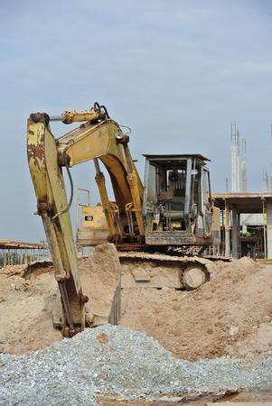 earthwork: Old Excavator Machine for earthwork