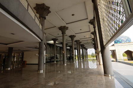 Corridor of Sultan Abdul Samad Mosque or KLIA Mosque is a mosque for Kuala Lumpur International Airport on February 23, 2014 at at Sepang, Selangor, Malaysia. The mosque was originally named as KLIA Mosque and was officially named after Almarhum Sultan Si