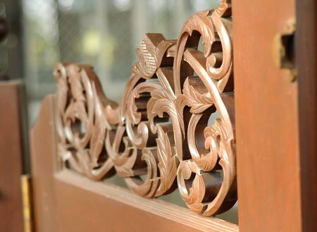 Wood carving at Sultan Abdul Samad Mosque or KLIA Mosque is a mosque for Kuala Lumpur International Airport on February 23, 2014 at at Sepang, Selangor, Malaysia. The mosque was originally named as KLIA Mosque and was officially named after Almarhum Sulta photo