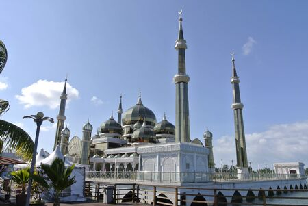 Crystal Mosque or Masjid Kristal is a mosque in Kuala Terengganu, Terengganu, Malaysia. A grand structure made of steel, glass and crystal. Stok Fotoğraf