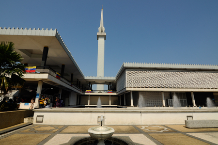 negara: National Mosque of Malaysia a.k.a. Masjid Negara on February 15, 2014 at Kuala Lumpur, Malaysia. It was built in 1965 and has a capacity of 15,000 peoples.