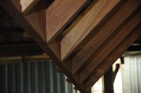 merbau: Malaysian traditional wood mortise by skilled carpenter in Terengganu, Malaysia November 6, 2014. Stock Photo
