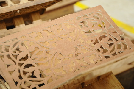 merbau: Malaysian traditional wood carving from Terengganu Stock Photo