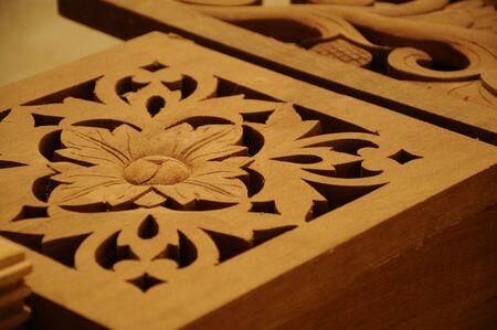 terengganu: Malaysian traditional wood carving from Terengganu Stock Photo