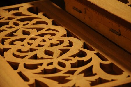 Malaysian traditional wood carving from Terengganu Stock Photo