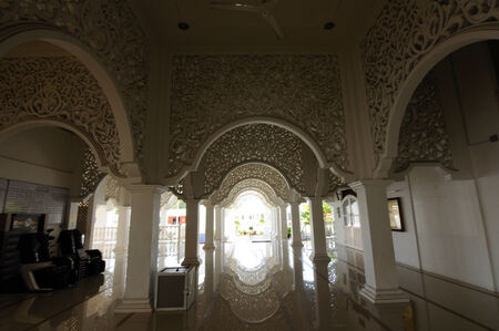 terengganu: Interior of Sultan Ismail Mosque in Chendering, Terengganu, Malaysia on March 27, 2014. Editorial