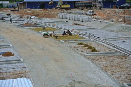 car lots: Open air parking lots under construction at the construction site.