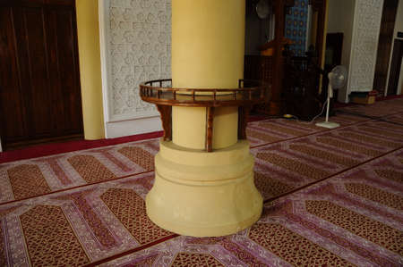 recite: Qoran rack of The Masjid Jubli Perak Sultan Ismail Petra in Rantau Panjang, Kelantan, Malaysia. The mosque is also known as Masjid Beijing or Beijing Mosque due to its Chinese temple-like structure. Built between 2005 and 2009. Editorial