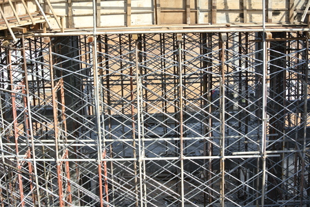 Metal scaffoldings used to support floor slab formwork in Selangor, Malaysia.