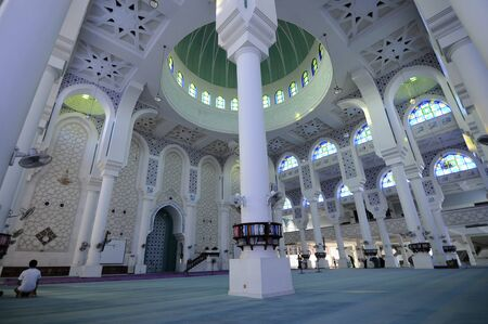pahang: Interior of Sultan Ahmad 1 Mosque. The mosque was located at Kuantan, Pahang. It was the state mosque of Pahang, Malaysia.