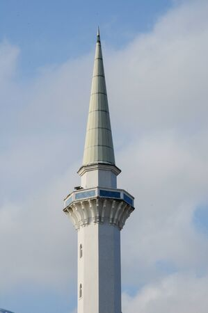 pahang: Minaret of Sultan Ahmad 1 Mosque. The mosque was located at Kuantan, Pahang. It was the state mosque of Pahang, Malaysia. Stock Photo
