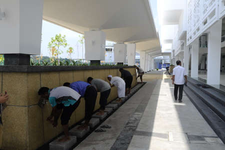 hardscape: External ablution of The Cyberjaya Mosque, the first Green Platinum Certificate Mosque built in Malaysia. It was built in Cyberjaya, Sepang, Malaysia with capacity 8500 people in one time. Editorial