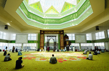 Main prayer hall of The Cyberjaya Mosque, the first Green Platinum Certificate Mosque built in Malaysia. It was built in Cyberjaya, Sepang, Malaysia with capacity 8500 people in one time.