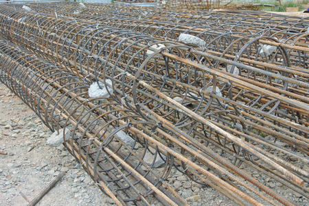 round rods: Bore pile reinforcement bars fabricated at construction site.