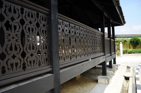 puri: Architectural detail of Masjid Kampung Laut at Nilam Puri Kelantan, Malaysia. Built in 1400s with traditional tropical architecture style using wood as the major material.