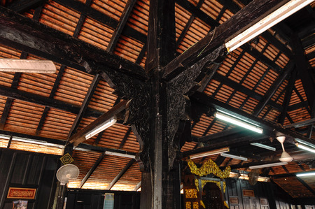 puri: Masjid Kampung Laut at Nilam Puri Kelantan, Malaysia. Built in 1400s with traditional tropical architecture style using wood as the major material. Editorial