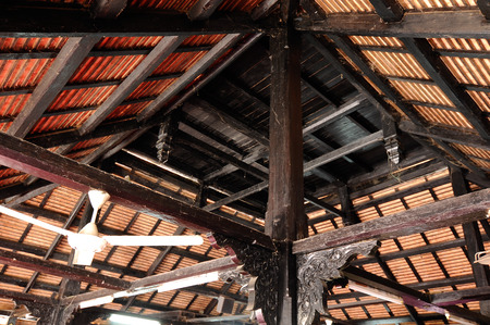puri: Roof structure of Masjid Kampung Laut at Nilam Puri Kelantan, Malaysia. Built in 1400s with traditional tropical architecture style using wood as the major material.